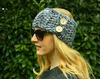 Grey Crochet Ear Warmer, FREE SHIPPING, Handmade Winter Headband, Crochet Headwrap, Double Wood Button