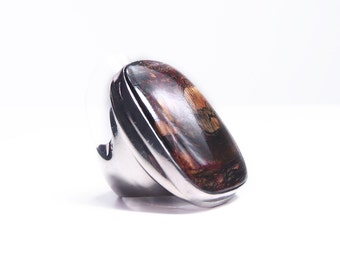 Ring in silver and agate