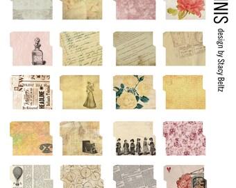 30 Vintage Mini File Folders Digital Print