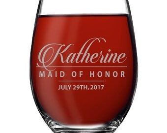 Personalized Stemless Wine Glasses, Etched Wine Glasses, Custom Wine Glasses, Bridesmaid Gift, Bridesmaid Stemless Wine Glasses, Usher Gift