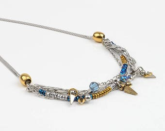 Short necklace, Swarovski Crystal, stainless steel and tinplate