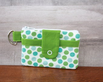 Zipper bag with outer snap pocket
