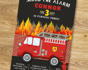 Firetruck Firefighter Fireman Birthday Party Invitation // Fire Truck // Fire Engine // Digital File Only