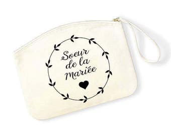 Pouch sister of the bride and groom in natural organic cotton