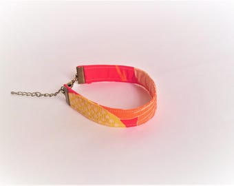 Vintage Japanese Kimono Silk Bracelet - red, yellow and pink