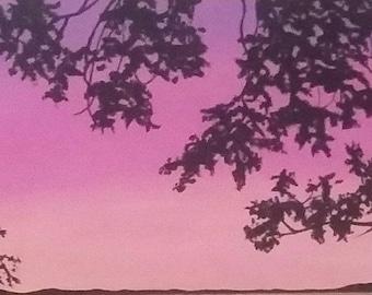 Pink and orange tree foliage print