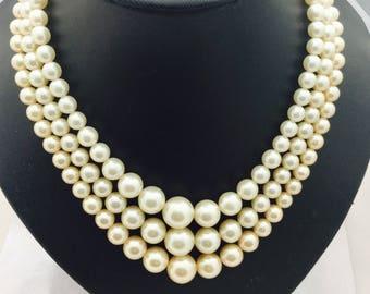 1950's Triple Strand Pearls