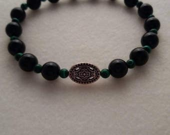 Men's Green Malachite and Black Onyx Celtic Style Bracelet