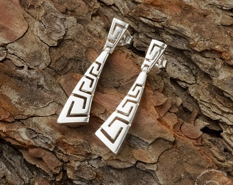 Greek Meander Long Earrings Curved, Sterling Silver Earrings, Greek Key Earrings, Greek Jewerly, Silver Jewerly