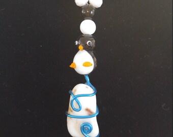 Quartz penguin necklace