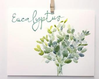 Eucalyptus Stems, Garden Art, Botanical Watercolors by Ochre Nest
