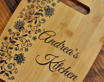 Personalized Gifts for Clients, Bamboo Cutting Board, Customized, Name Gift, Floral, Blue, Wedding Gift
