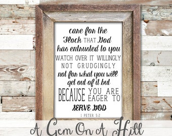 Care for the Flock that God has entrusted, Scripture Printable, Wall Art, Home Decor, 1 Peter 5:2, Bible Verse, Serve God, Inspiration Art,