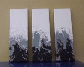 Original Acrylic Paintings - Set of 3 - Ebony Blaze