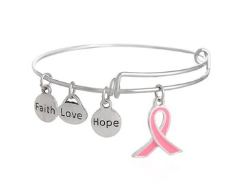 CLEARANCE Wholesale Breast Cancer Awareness Silver Bangle Set of 5