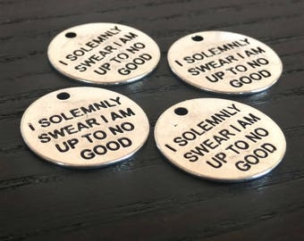 4 Harry Potter Charms I Solemnly Swear I Am Up To No Good Pendants | Marauders Map Charm | Ready to Ship from USA | AS125-4