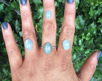 Silver Aquamarine Ring / Sterling Silver Ring / Blue Aquamarine / Aquamarine Stack Ring / Mermaid Ring / Aqua Marine Ring / Made to Order