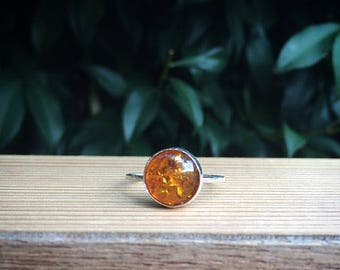 Baltic Amber Ring / Sterling Silver Ring / Silver Amber Ring / Round Amber Ring / Amber Stack Ring / Small Amber Ring / Stackable Ring