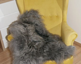Sheepskin. Grey sheepskin.Icelandic shhepskin. Natural Sheepskin Rug. Super Soft Silky Long Wool. Long hair.
