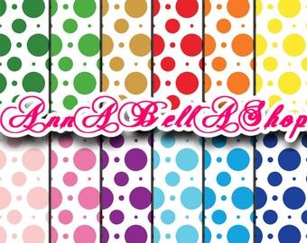 80% OFF SALE Digital Papers Dots 1 - digital paper pack, dots pattern, Card Design, wallpaper, digital paper, dots paper, polka dots