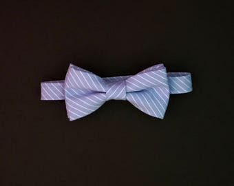 Boys Blue & White Striped Bow Tie; Baby Boy's Blue and White Bowtie; Toddlers Blue with White Striped Bowtie; Boys Adjustable Striped Bowtie