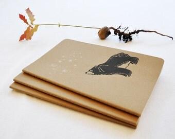 Large hand printed moleskine art journal/notebook star gazing Bear