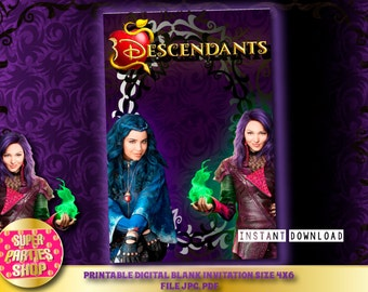 Descendants Digital  Printable Party Blank Invitation  , Custom Party, Descendant ,Birthday,Kit,Pack,Supply,supplies,invite