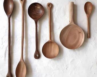 Handmade wooden cooking mixing and serving kitchen spoons