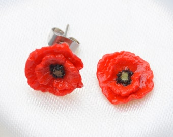 Red Poppy Flower earrings (butterfly stud)