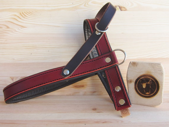 Leather Dog Harness, Burgundy Dog Harness,  Comfort and Adjustable Harness for Small and Large Dogs, Handmade Harnesses, Easy Walk Harness