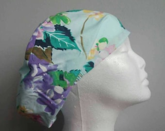 Scrub caps, scrub hats, surgical theatre medical chemo elasticated cap, floral fabric