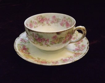 ANTIQUE HAVILAND, CH Field Haviland Limoges France,Antique Tea Cup&Saucer,Raised Hibiscus Flowers with Gold trim,French Country,Cottage Chic