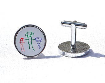 Children's drawings, cufflinks, for dad, for grandad,