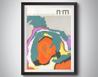 1969 N+M German Mid-Century Magazine Graphic Cover Print NR 14/3 Minimal Colorful Wall Art print from esoteric mid-century graphic design
