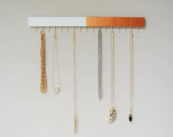 Jewelry Display. Rose Gold Decor. Jewelry Holder. Jewellery Stand. Wooden Display Stand. Necklace Holder. Necklace Stand. Scarf Hanger.