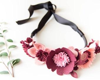 Cinturon de flores rosas, cinturon de cuero de mujer con flores de fieltro y lazo, accesorio femenino ideal para vestido de invitada a boda