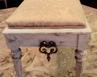 SOLD SOLD SAMPLE !!Italian piano bench redux in cottage feel!  Living room, bedroom, office, anywhere she's perfect.