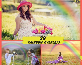 20 Rainbow Overlays, Photoshop Overlay, Rainbow Overlay Flare Effect, Rainbow Textures, Photography Photo Prop, Digital Instant Download
