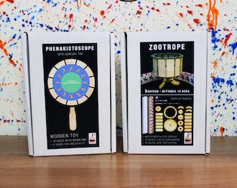 Zoetrope + Phenakistoscope (2 animation toys)