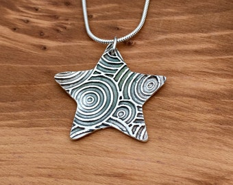 Swirly Silver Star pendant and necklace, Silver jewellery, Present for her, Handmade, Gift for mum, pure Silver, Michelle Giles Jewellery