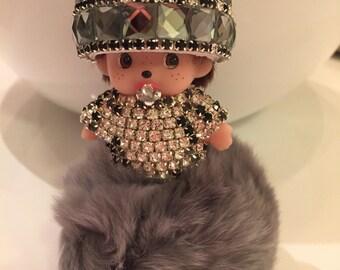 The Alexandra Bag Charm  Key chain Pouf  Monchichi  Faux Fur  Purse Charm Crystals  Pom Pom