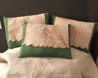 3 Decorative vintage pillows with old buttons, vintage embroidered  green/beige pillow, vintage smell