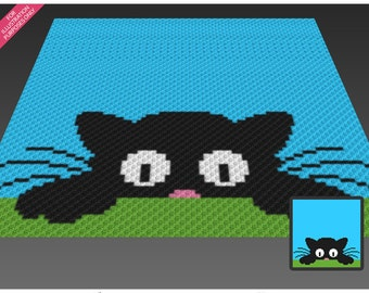 Sneaky Cat  crochet blanket pattern; c2c, cross stitch; knitting; graph; pdf download; no written counts or row-by-row instructions