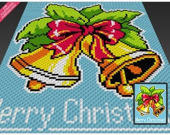 Christmas Bells crochet blanket pattern; c2c, cross stitch; knitting; graph; pdf download; no written counts or row-by-row instructions
