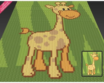 Happy Giraffe crochet blanket pattern; c2c, cross stitch; knitting; graph; pdf download; no written counts or row-by-row instructions