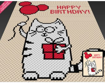 Birthday Cat crochet blanket pattern; c2c, cross stitch; graph; pdf download; no written counts or row-by-row instructions
