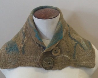 Stunning Wet Felted Merino Wool and Silk Neckwarmer