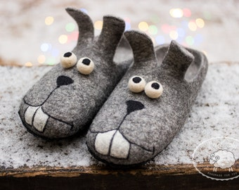 Easter bunny Slippers Mens gift Funny gift Mens Slippers House Shoes  Felted Wool Slippers Rabbit Shoes Grey Slippers Warm Slippers