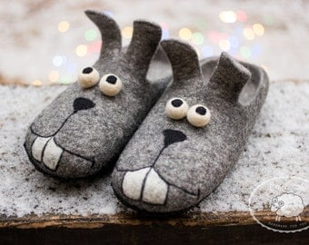 Christmas Gift bunny Slippers Mens gift Funny gift Mens Slippers House Shoes  Felted Wool Slippers Rabbit Shoes Grey Slippers Warm Slippers