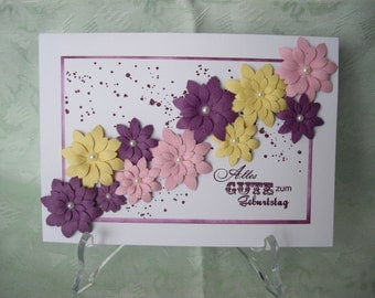 Greeting card, greeting card, birthday card, flowers in 3D